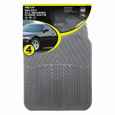 pilot automotive all season 4 pc rubber floor mat set gray