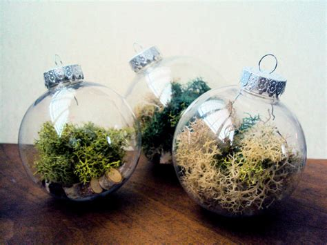 set of three woodland moss ornaments filled with birch slices