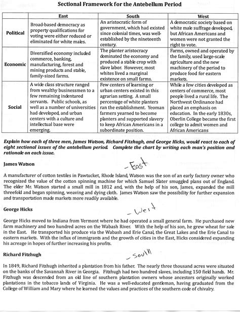 sectional issues of the antebellum period worksheet answers sectional framework during the antebellum period ap