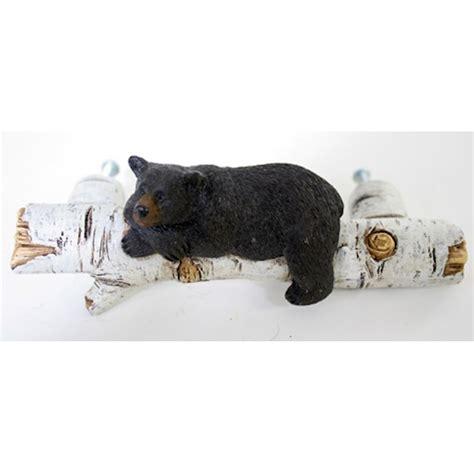 black bear on birch log drawer handle pull home cabin lazy bear drawer pull