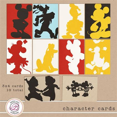 free printable disney postcards free printable silhouettes of mickey and friends my