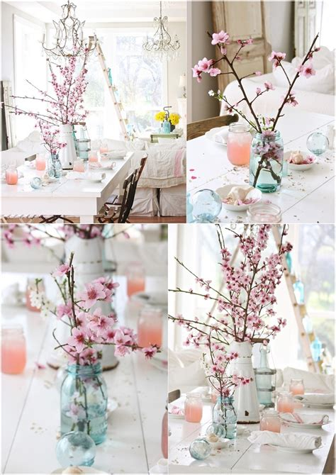 Cake Vase Set Interior Decor With Cherry Blossoms