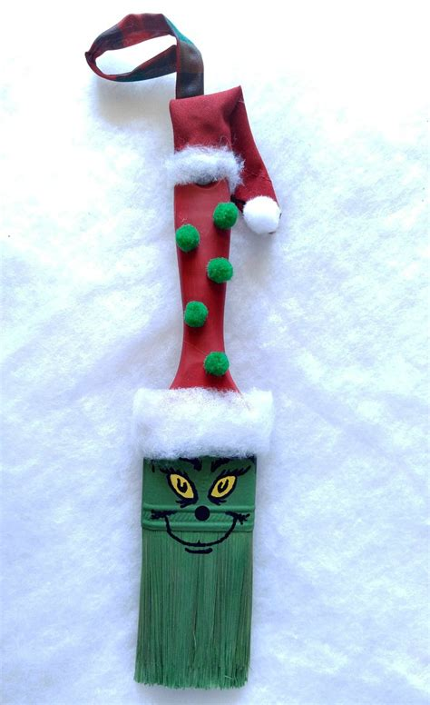 paint nite grinch grinch paintbrush ornament diy project with