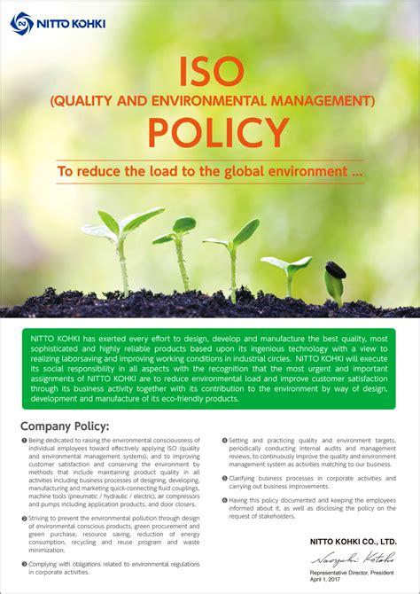 iso 14062 design for environment environmental policy about nitto kohki nitto kohki co