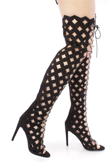 black lace up thigh high caged boots faux suede