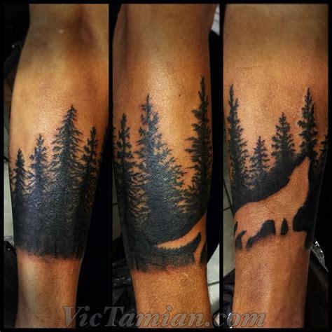 dark forest tattoo description wolf forest negative space negativespace