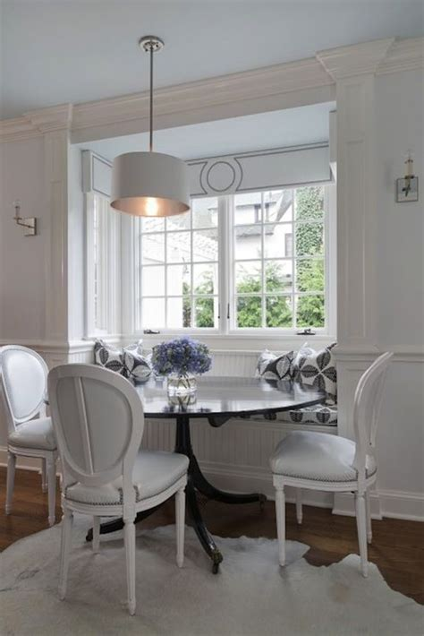 Banquette Breakfast Nook by Chic Monochromatic Dining Space With Built In Beadboard