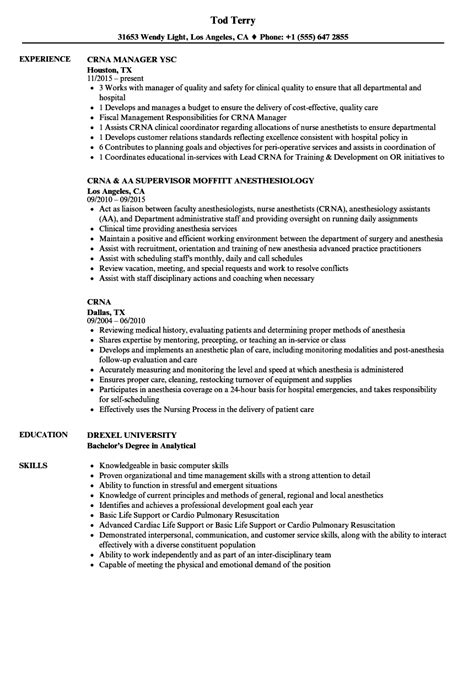 crna resume exles best anesthesia cv exles gallery entry level