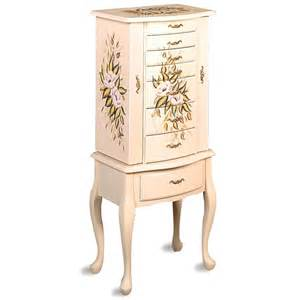 Pacconi Jewelry Armoire Jewelry Armoire With Painted Floral Designs And Felt