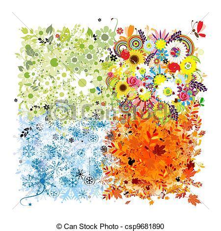 imagenes de otoño primavera verano vector clip art de invierno primavera oto 241 o marco