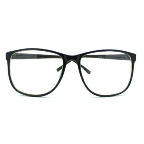 Big Lennon Clear Frame Kacamata black large nerdy thin plastic frame clear lens eye