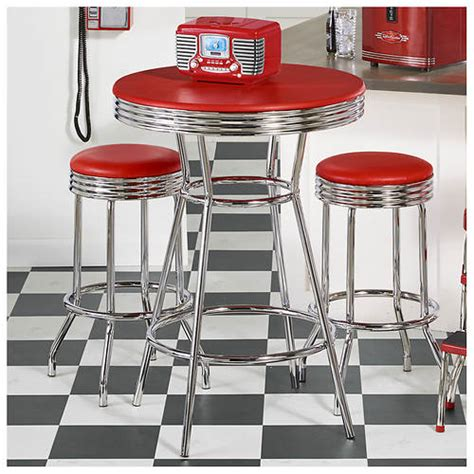 Retro 3 Chrome Bar Stools And Table Set by 3 Retro Pub Table Stool Set Color Out Of Stock