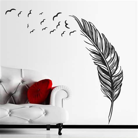 Sticker Wallpaper Flying Feather flying feather wall sticker home decor adesivo de parede home decoration wallpaper wall sticker