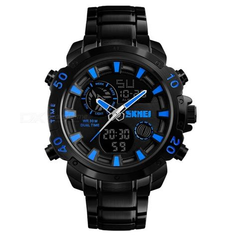 Skmei Jam Tangan Analog Digital Black Blue Ad1204 skmei jam tangan digital analog pria 1306 black blue jakartanotebook