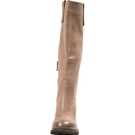 taupe leather classic knee high boots paolo shoes