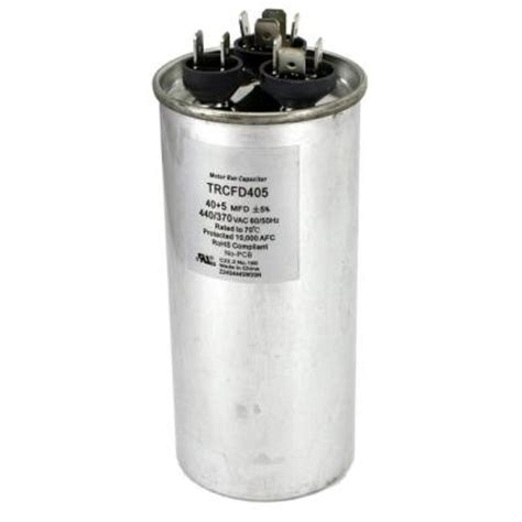 40 5 uf capacitor packard 440 volt 40 5 mfd dual motor run capacitor trcfd405 the home depot