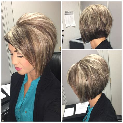 stacked bob haircut teased stacked bob haircut with blonde highlights on dark hair