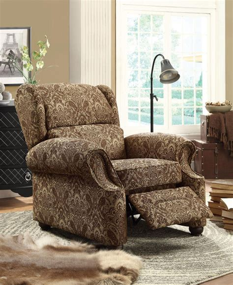 recliner in damask pattern fabric traditional recliner