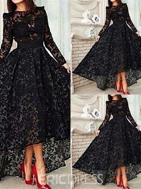 ericdress   long sleeve asymmetrical lace evening