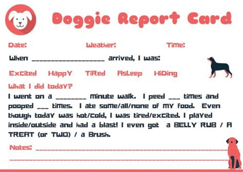 pet boarding report card template doggie report card design petsitter dogwalker free