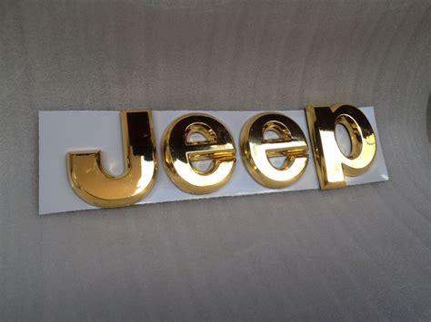 jeep gold jeep 3d letters emblem badge gold cherokee wrangler