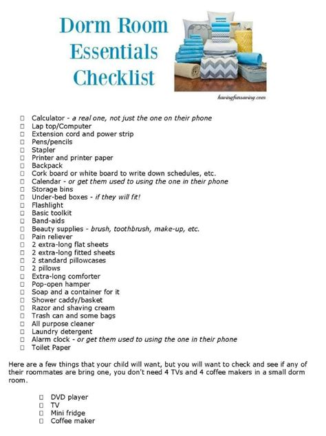 room essentials checklist room essentials checklist room essentials