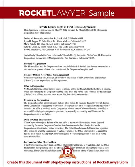 Right Of First Refusal Agreement Form Rocket Lawyer Equity Purchase Agreement Template