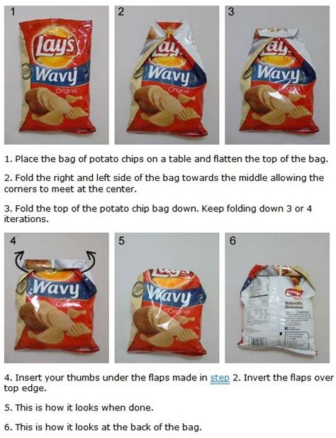 How To Fold Paper Into A Bag - chip bag origami fold ah ha bag of chips
