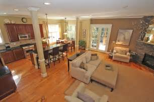 open floor plan kitchen and dining room enchanting beige fabric modern sofa in open living room