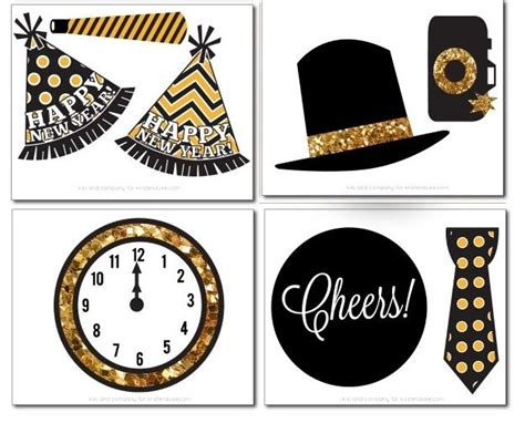 happy new year photo booth props printable new year 180 s eve free printable photo booth props happy