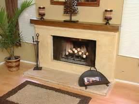 stucco brick fireplace
