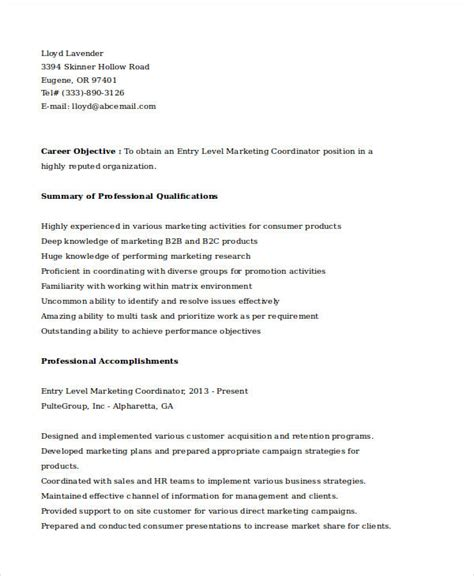 28 entry level marketing resume sle 28 entry level data