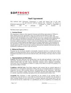 saas template agreement saas agreement soffront software free