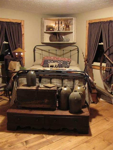 primitive bedroom decorating ideas country prim bedroom old chests crocks primitive