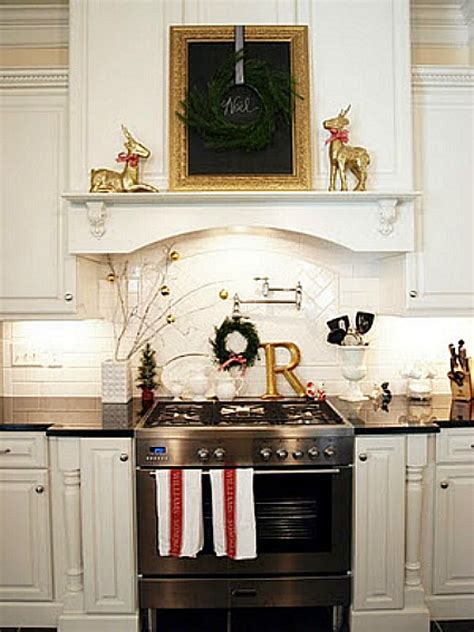 Kitchen Mantel Ideas | decorating for the seasons in julie s white kitchen