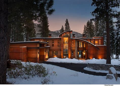 beside lake modern wooden house design olpos design mountain retreat near lake tahoe radiates cozy brilliance