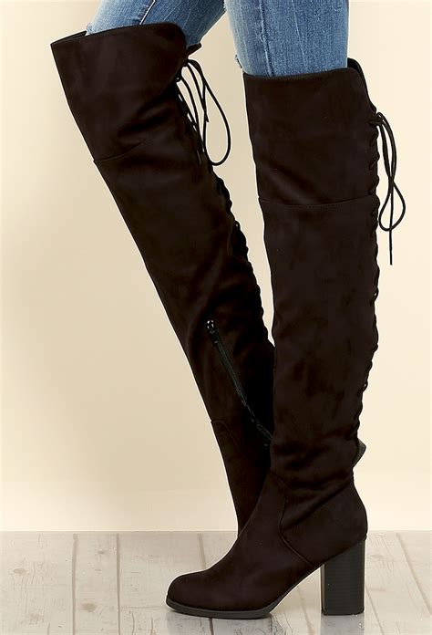 thigh high boots lace up back back lace up thigh high boots shop shoes at papaya clothing