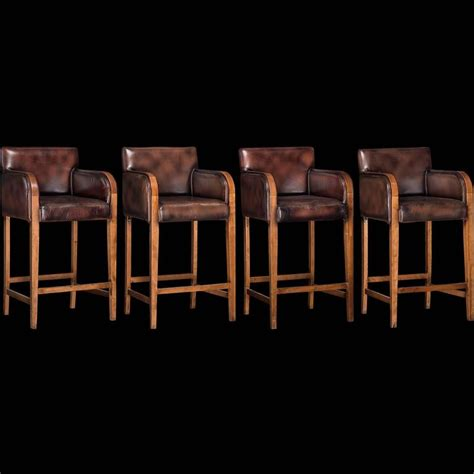 Bar Stools Leather And Wood by Leather Wood Bar Stools At 1stdibs