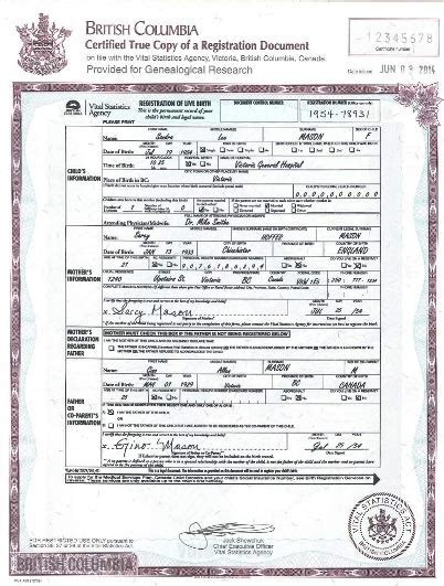 Bc Divorce Records Registration Of Live Birth For Genealogical Research