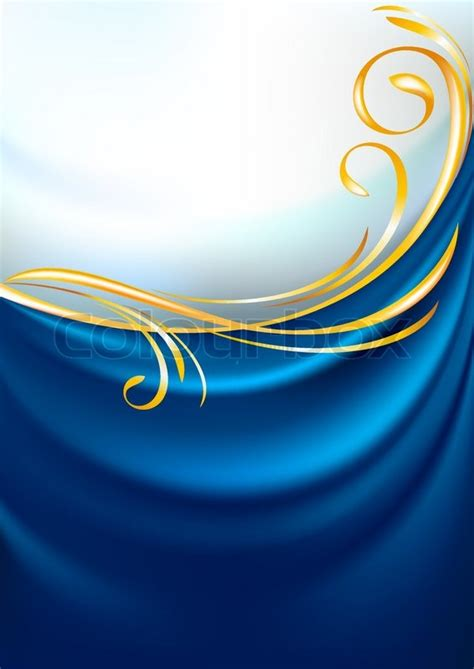 Artistic Drapery Blue Fabric Curtain Background Gold Vignette Stock