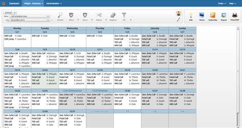 Cardiology Scheduling Software Physician Call Schedule Template