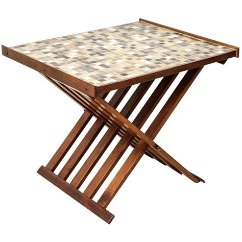 Folding Side Table Glass Tile Topped Folding Side Table At 1stdibs