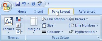 page layout ribbon word 2007 tefl spin ms word 2007 page numbering after second page