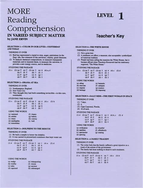 reading comprehension test with answer key more reading comprehension 1 answer key school
