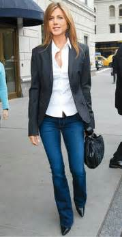 Shirt blue jeans perfect casual friday outfit by jennifer aniston