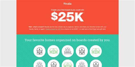 Trulia Sweepstakes - trulia 25k giveaway create a board on trulia to win