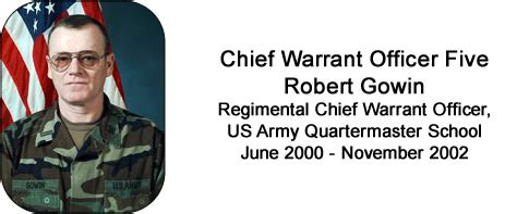 Army Warrant Officer Mos by Former Rcwo Cw5 Robert Gowin Quartermaster School