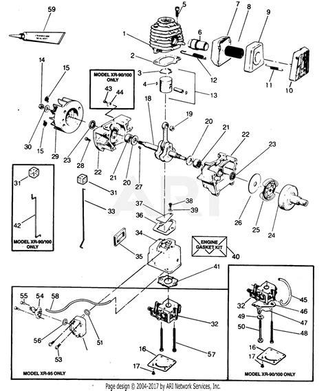 poulan xr  gas trimmer parts diagram  power unit