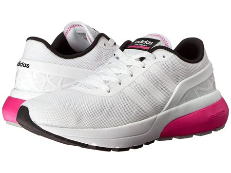 adidas neo s cloudfoam flow white shock pink walking shoes 6097690