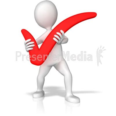 Stick Figure Holding Check Mark Presentation Clipart Great Clipart For Presentations Www Presenter Media Templates Free